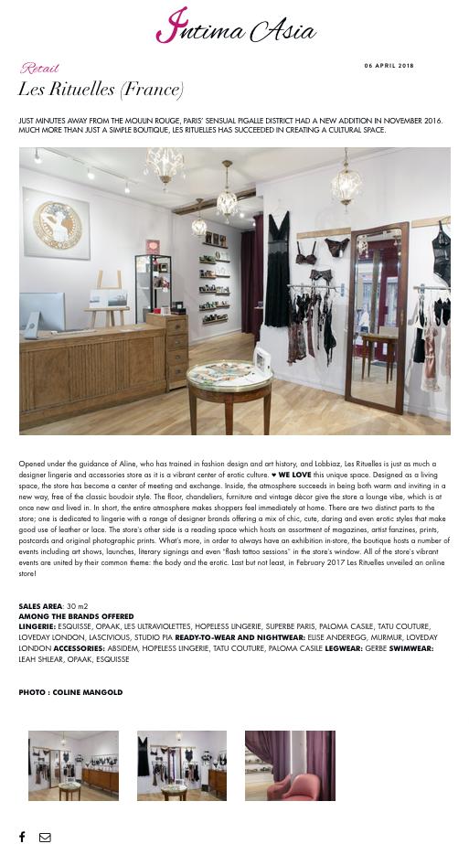 Article sur Les Rituelles - magazine Intima Asia