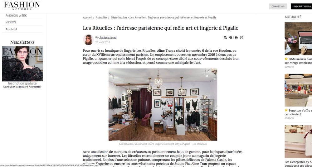 Article sur Les Rituelles - webzine Fashion Network France
