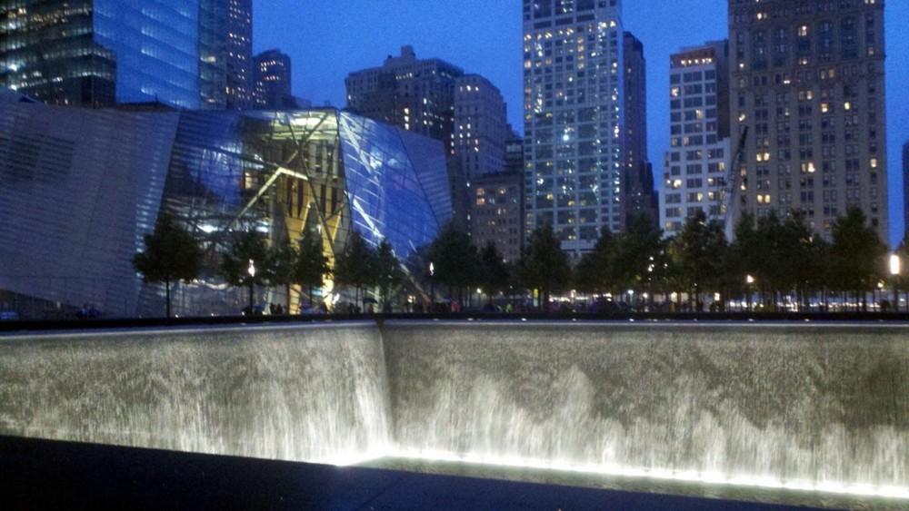 9/11 Memorial Museum and Pools at night