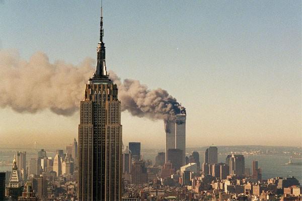 World Trade Center from Uptown Manhattan on 9/11.