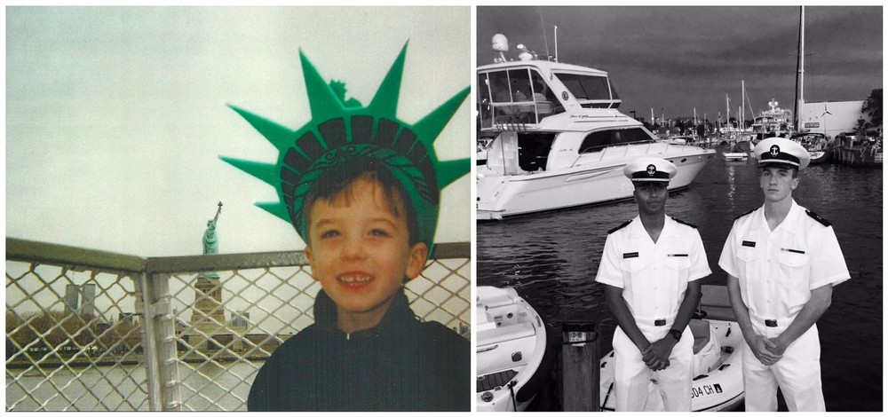 Dylan Sweeney @ the Statue of Liberty with the World Trade Center in the background in March of 2001. On the right, Dylan with Trevor Day School classmate and friend and now fellow United States Naval Academy Midshipman, Alex, in Annapolis, MD.