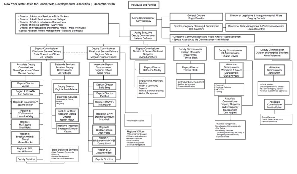 OPWDD Organization Chart - December 2016