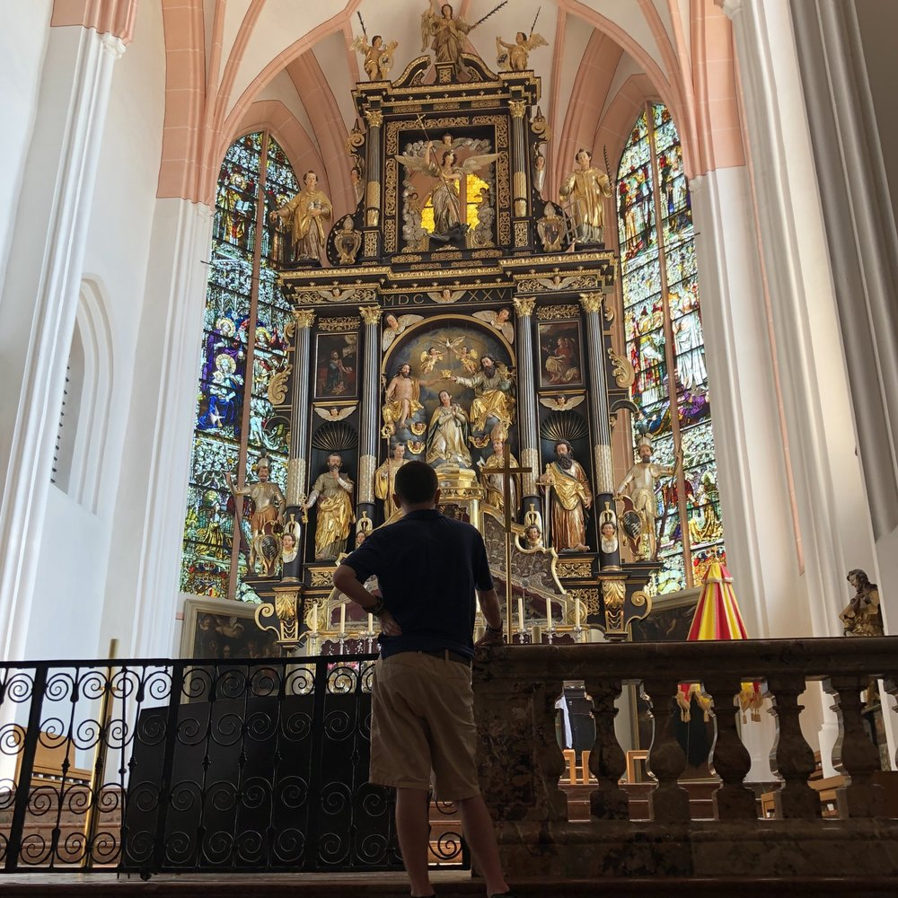 Dustin @ basilica Saint Michael, Mondsee, Austria (setting of the wedding scene in Dusty's favorite movie, The Sound of Music)