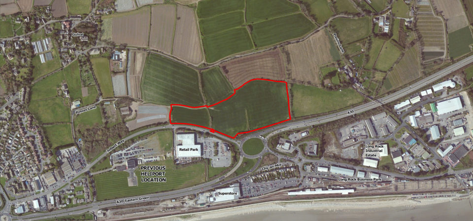 Map of proposed heliport site on Jelbert Way