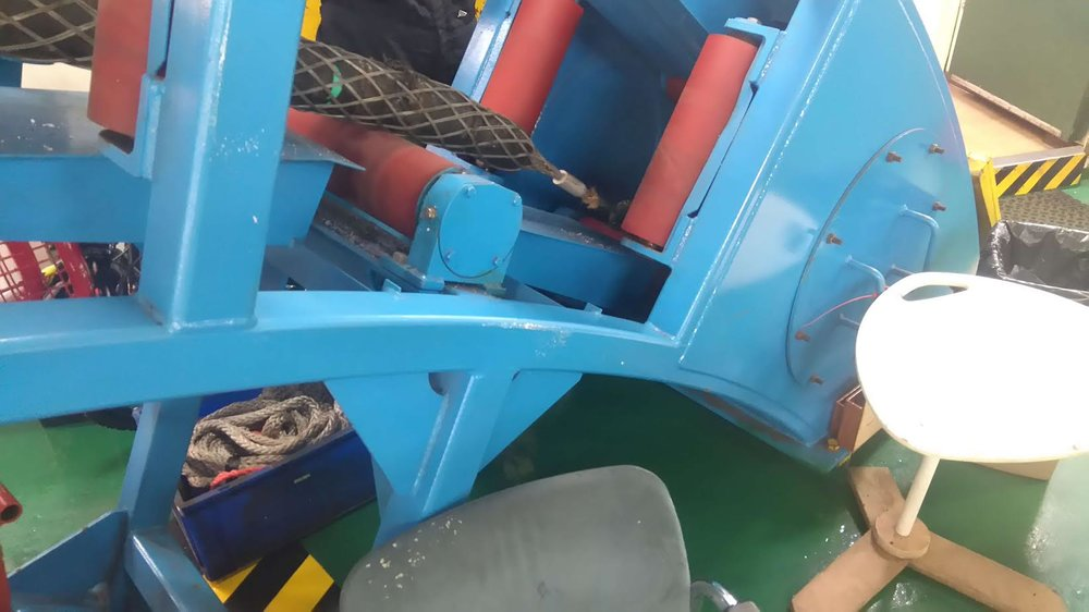 The damaged cable as it was winched onto the repair vessel last week. Images Courtesy of WPD.