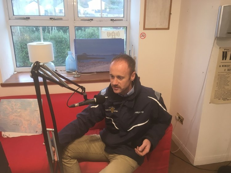 Harbourmaster Dale Clark in the Radio Scilly studio.