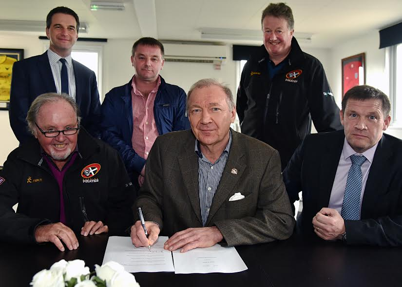 Signing Of Heads of Terms for a Memorandum of Understanding between the parties. Front L-R: Dicky Evans, Cornish Pirates RFC; Peter Masters, Truro City FC; Martin Tucker, Truro and Penwith College. Rear L-R: Dale Band, Nalders Solicitors; Philip Perryman, Truro City FC; Peter Child, Cornish Pirates RFC.
