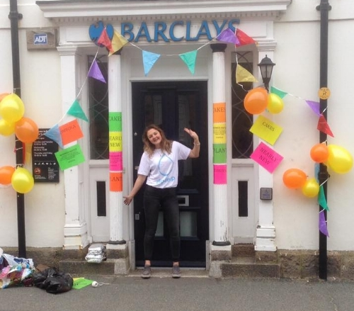 Rachel Pearce outside Barclays Bank on St Mary's during the fundraising day.
