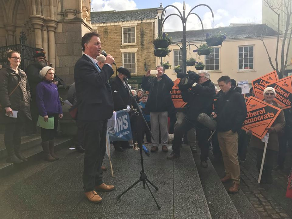 Former Liberal Democrat MP for St Ives Andrew George at a recent NHS rally in Truro.