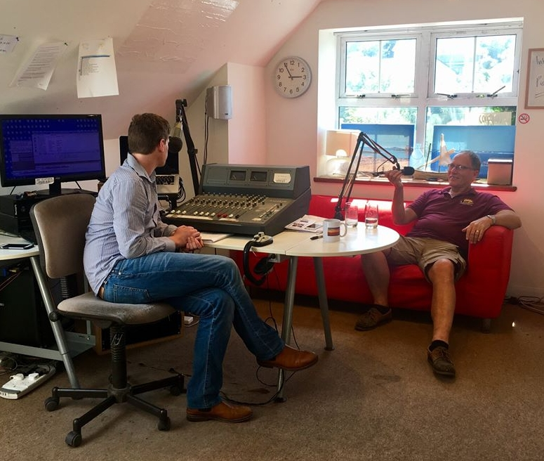 Chairman of the Council of the Isles of Scilly Ted Moulson in the Radio Scilly Studio with Will.