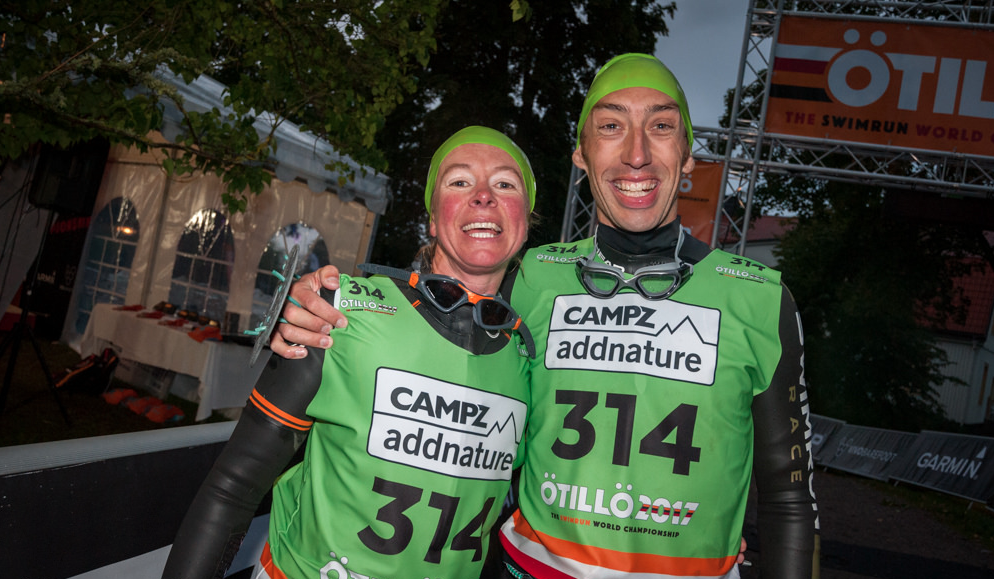 Alison Stedeford and Wez Swain after completing the ÖTILLÖ Swimrun World Championship race in Sweden. Image courtesy of Pierre Mangez and ÖTILLÖ.