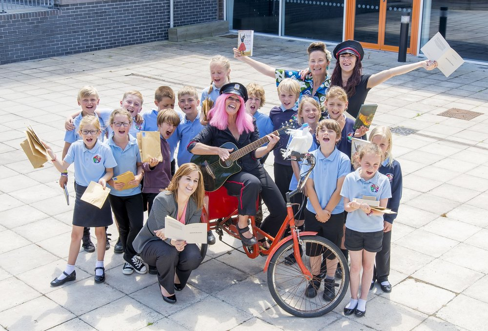 Poetry postie Sally Crabtree held workshops with pupils at Five Islands School on St Mary's to show that poetry can be fun and doesn't have to be boring.£1,500 was awarded to help with this initiative in Scilly and Cornwall.