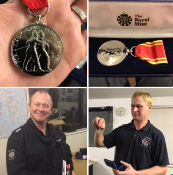 Richard Hobbs left and Kevin James right receiving their medals earlier on in the week. Image courtesy of the Council of the Isles of Scilly.