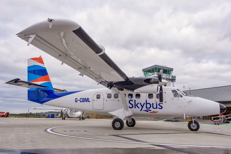 Skybus Twin Otter aircraft at Land's End Airport.
