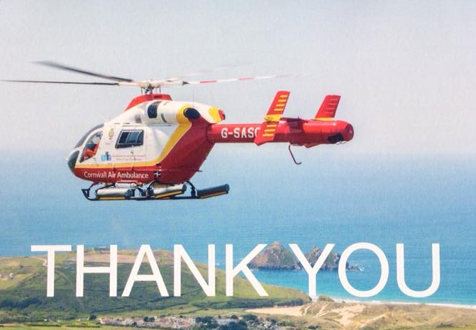 The Cornwall Air Ambulance over Scilly.