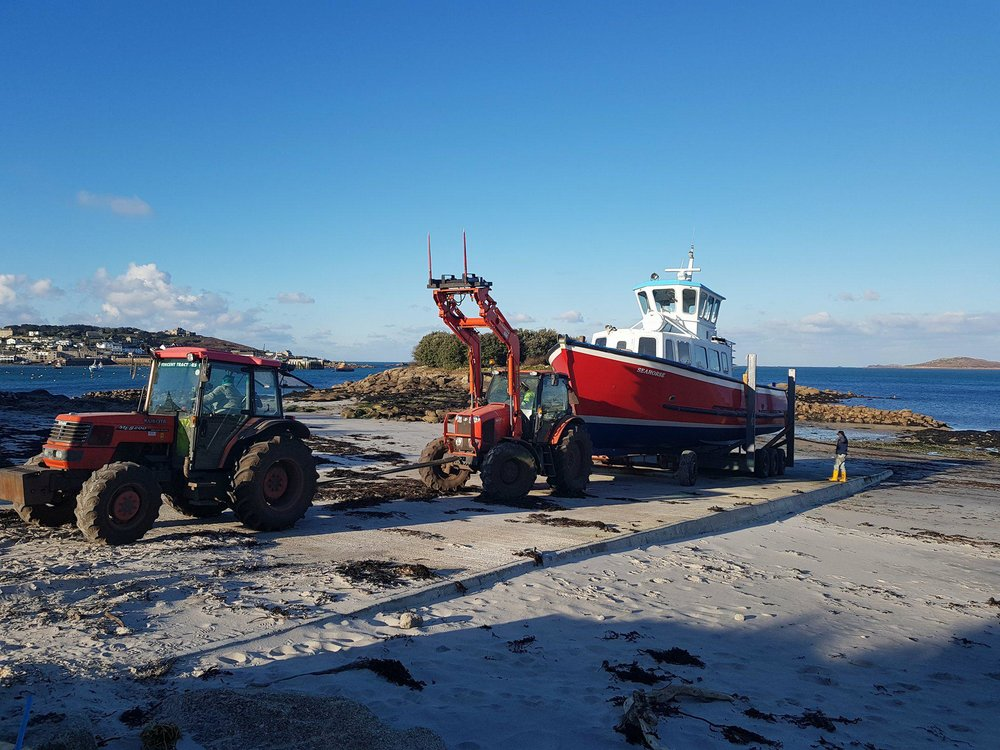 The Seahorse launching for the season from Porthloo Beach, St Mary's.