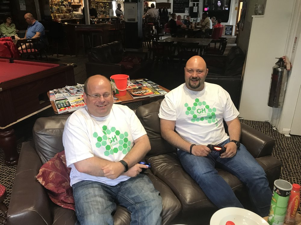 Douglas Burrow (left) and   Nic   Davidson (right) completed their 24-hour computer gaming marathon in the early hours of Monday morning.
