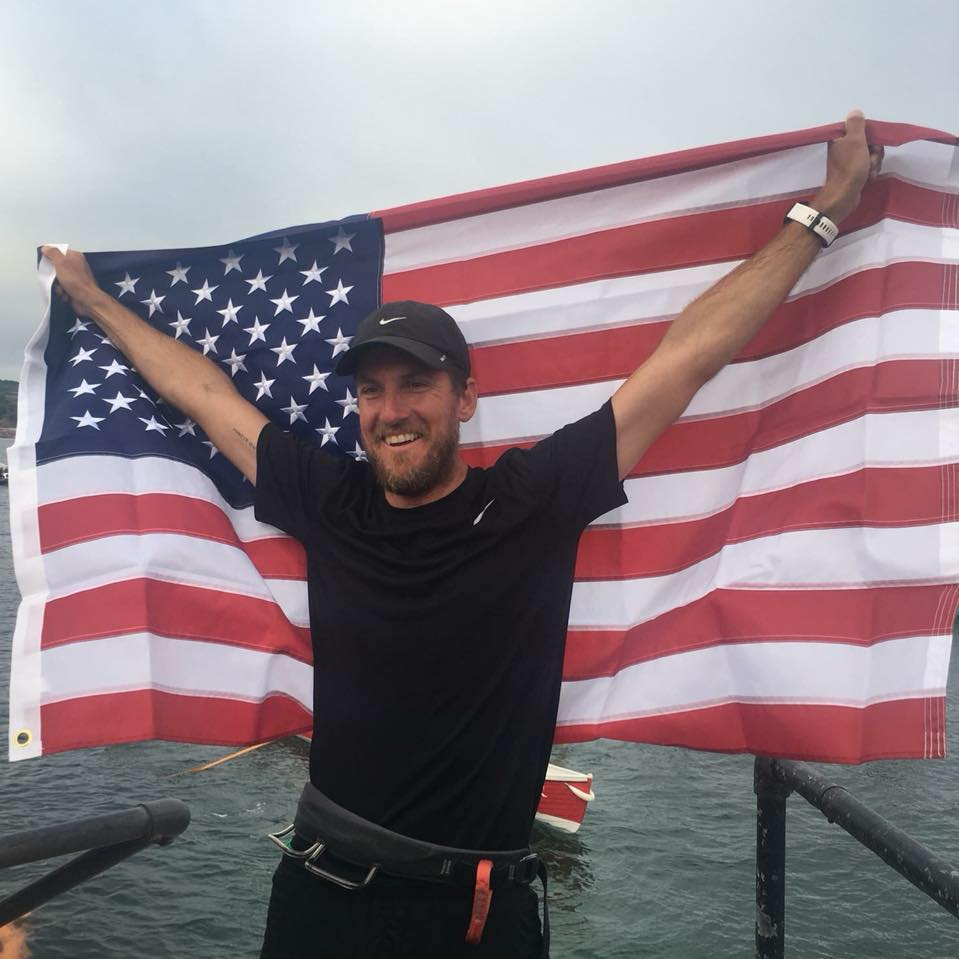 Bryce Carlson on St Mary's quay after finishing his gruelling crossing of the North Atlantic Ocean. Image courtesy of Bryce Carlson.