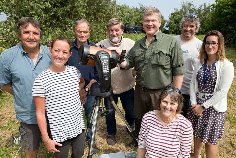 Ray Mears, the Steamship Group's Patron for 2018 with members of COSMOS on St Martins. £2,000 was donated towards an astronomical observatory onthe island.
