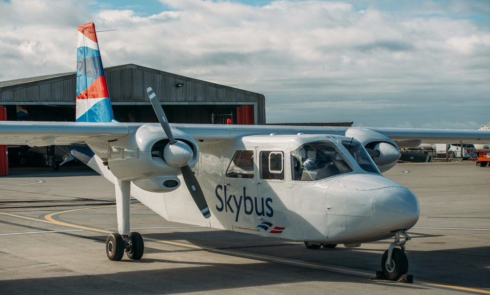 Skybus Islander aircraft at Land's End Airport.