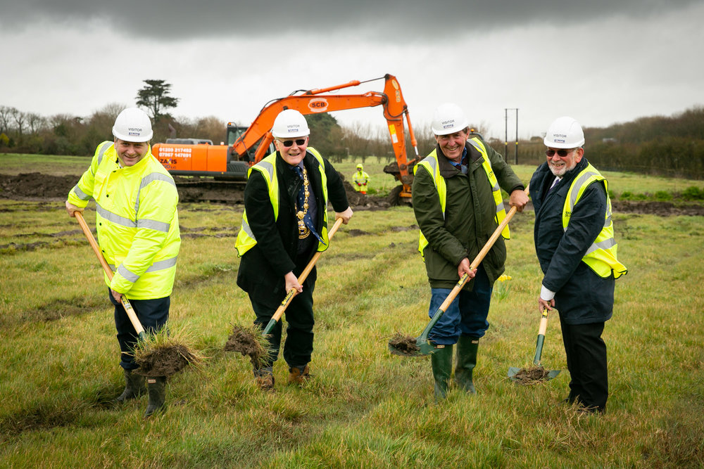 Turf cutting at Penzance Heliport (L-R: Cllr Simon Elliott, Cllr Dick Cliffe, Robert Dorrien-Smith, Cllr Roy Mann)
