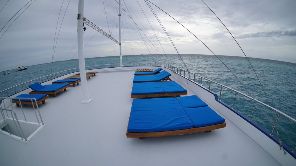 The Sun deck on UniSURFity Maldives Boat