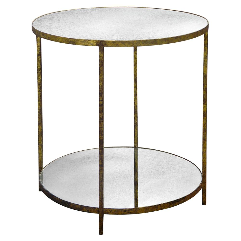 Jonathan Round Side Table from Oly Studio. Offering various metal finish selections and antiqued mirror surfaces (a finish that never gets old and can go from traditional to contemporary), this table is very versatile and beautifully classic. Available at various boutiques and to the trade.