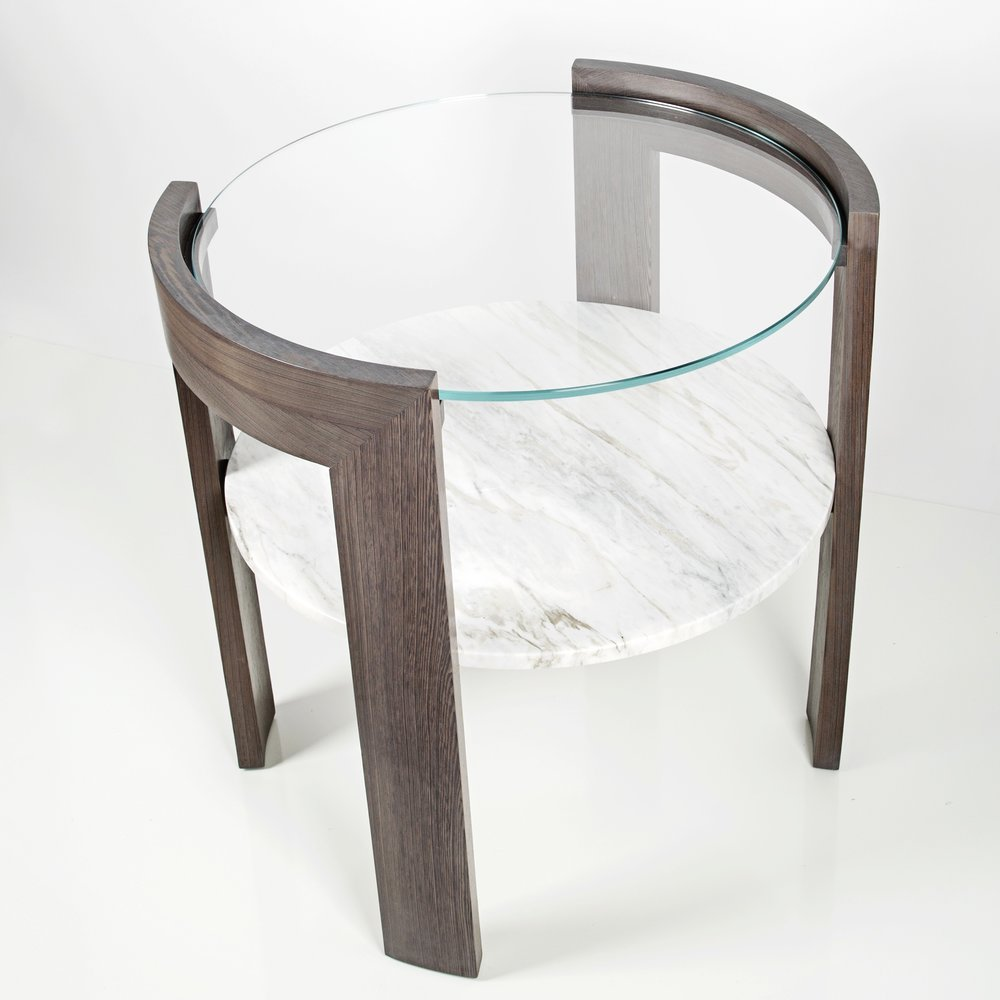 "Our Daniel Side Table is a large scale, meant to be placed beside a sofa with higher arms. We love the 28"" diameter that will hold a nice sized lamp and a few personal accessories, with room to spare for a glass of champagne!"