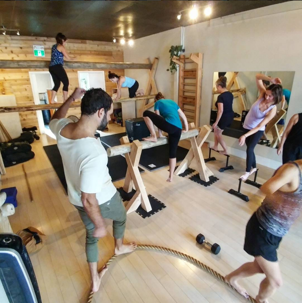 Photo from a balance and fall prevention sustainable fitness class at  Restore Human  in Vancouver.
