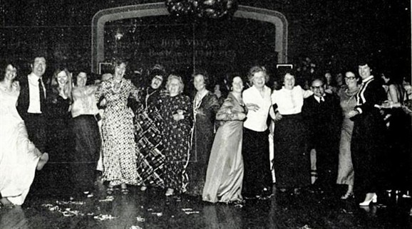 Staff at the Bon Marché leaving party in 1975