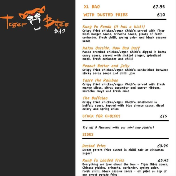 Tiger Bites' pop-up menu at Two Spoons