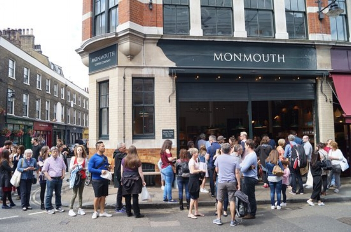 Queues outside Monmouth coffee in Borough Market