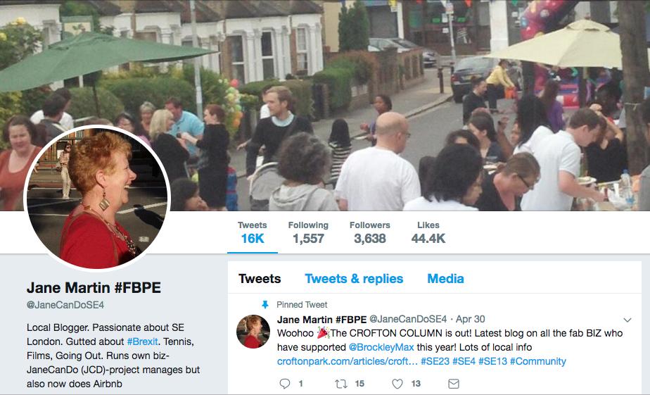 Jane's Twitter profile @JaneCanDoSE4