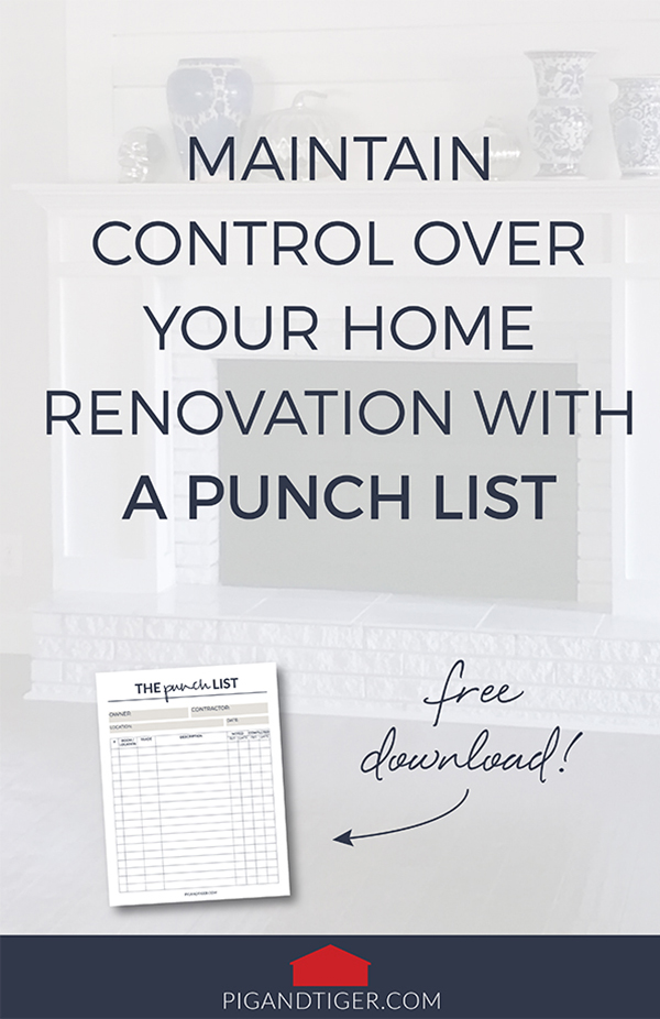 Pig + Tiger Renovation | Punch List Download