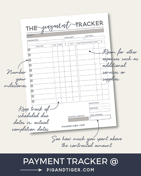 Payment tracker | Track your payments for your home remodel or renovation on one page | Milestone payments additional services and expenses | organizational printable | Pig + Tiger Renovation