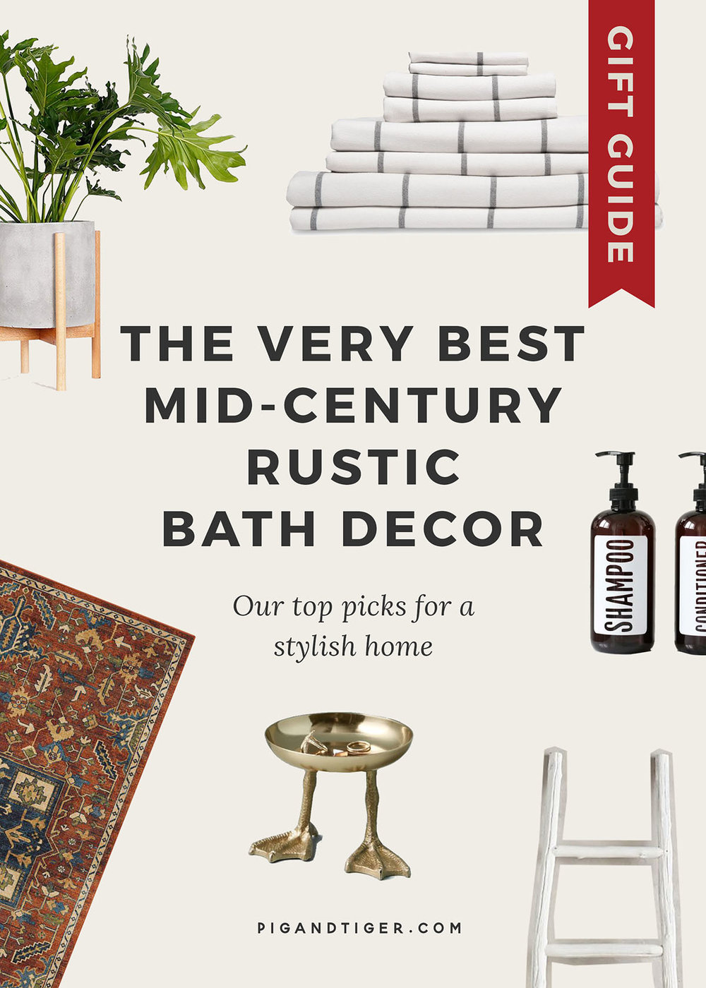The very best mid century modern rustic bath decor gift guide - CLICK FOR DETAILS