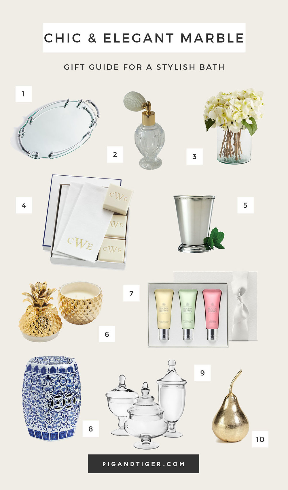 The very best chic and elegant marble bath decor gift guide - CLICK FOR DETAILS