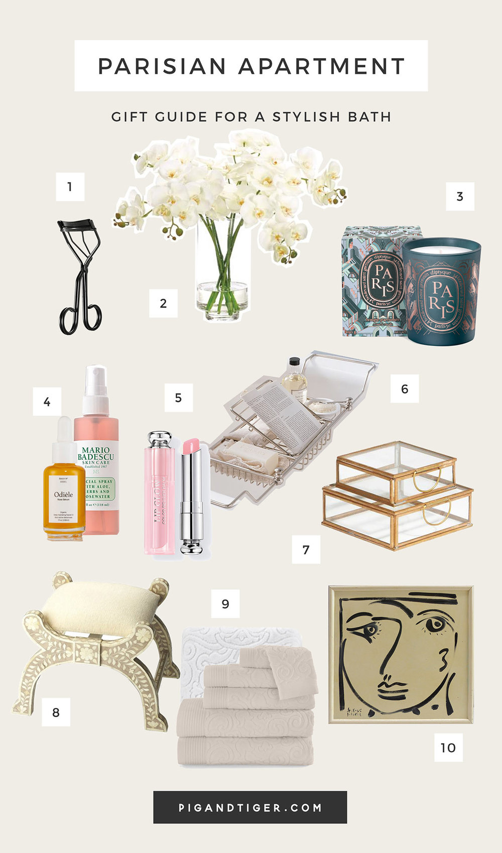 Parisian style bathroom decor gift guide - CLICK FOR DETAILS