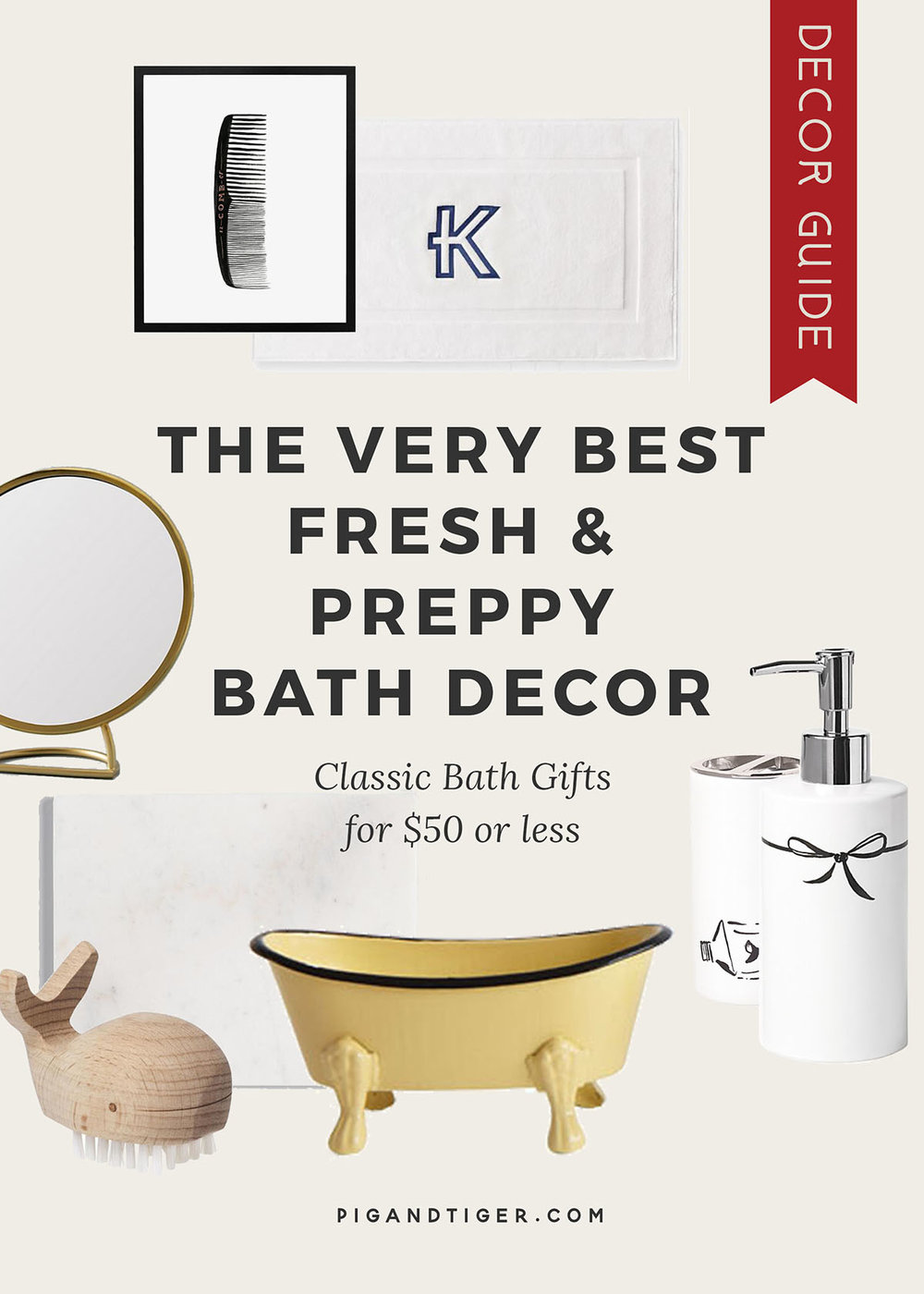 The very best Fresh and Preppy bath decor gift guide ($50 or less) - CLICK FOR DETAILS
