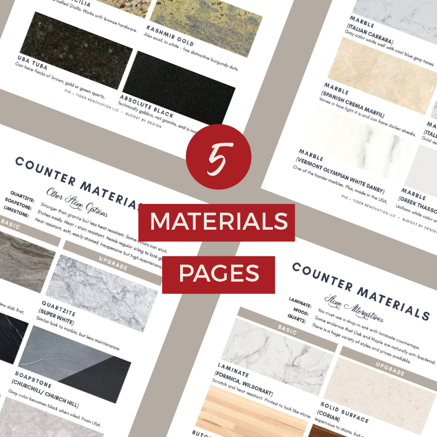 Countertop material selections and options