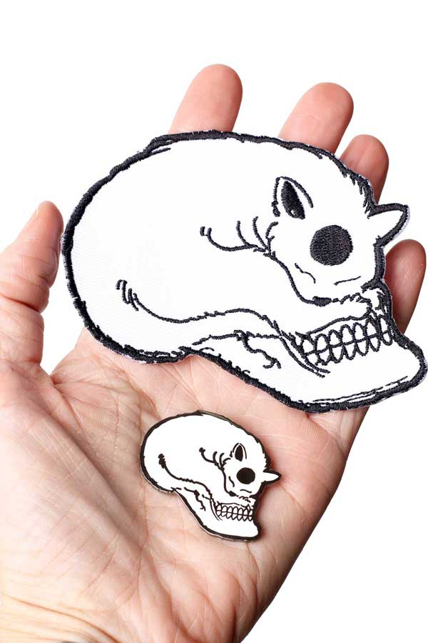 Cat Skull Embroidered Patch & Enamel Pin by I don't Give a Meow
