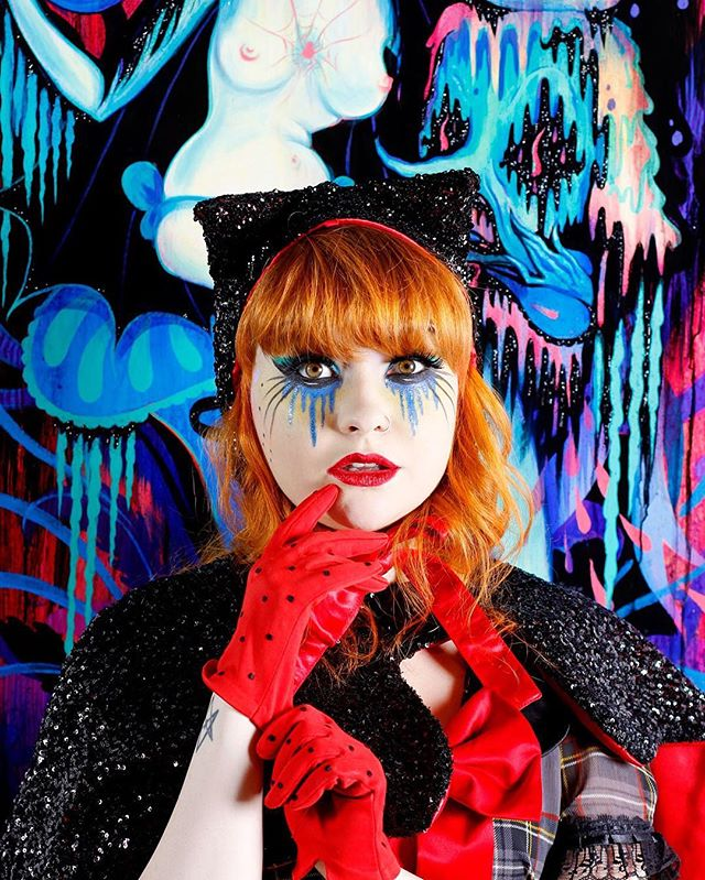 Black sequin cat hat with matching scallop capelette in front of gorgeous #camillerosegarcia painting at @coreyhelfordgallery  Image me! @jlbeaverton  Hats and capes available online meow. #idontgiveameow #Cathat #sequinhat #meowlife #fineart #losangelesdesign