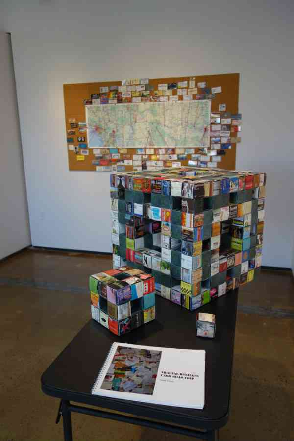 Final installation of Fractal Business Card Road Trip in Albuquerque, New Mexico. In the background is a map showing where I had collected all the business cards.