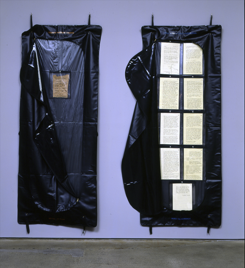 Close up of  Suicide Notes : Real suicide notes in body bags.