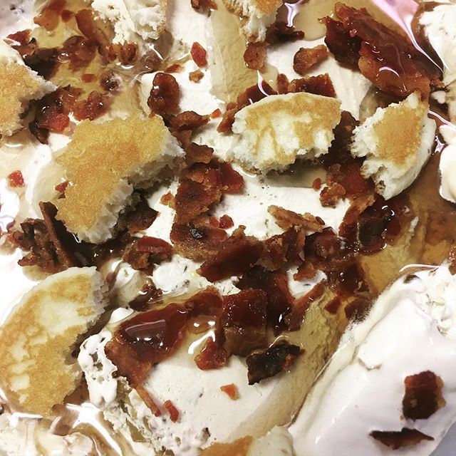 Coming soon...Something magical is on its way!  Bacon and pancakes!! Maple ice cream with real bacon, pancakes and maple syrup swirls!  #holycowct #icecream #newtown #getinmybelly