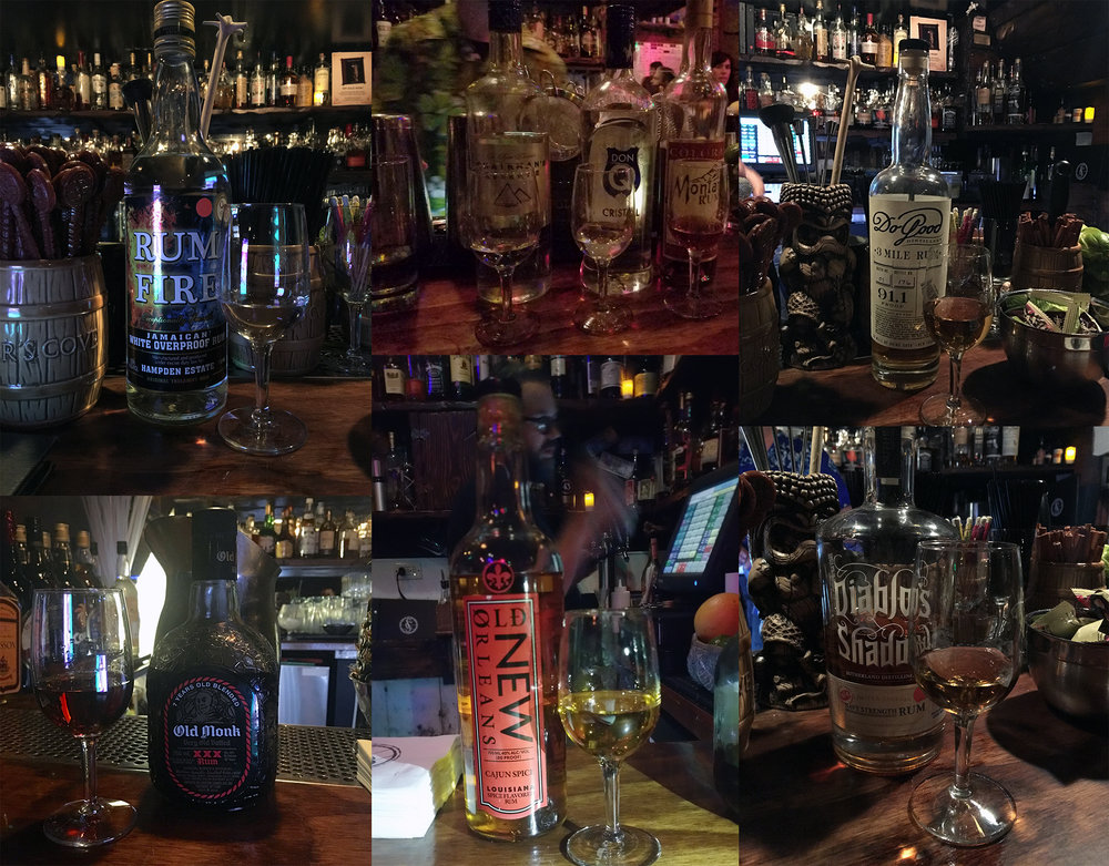 Favorite & local rums that we snapped: Rum Fire, Montanya Oro (right of the 3), Do Good (local), Old Monk, Old New Orleans Cajun Spice, and Diablo's Shadow (local).