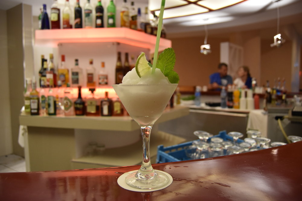 Cocktail at Varadero resort lobby. It's pretty but I wish it were good.
