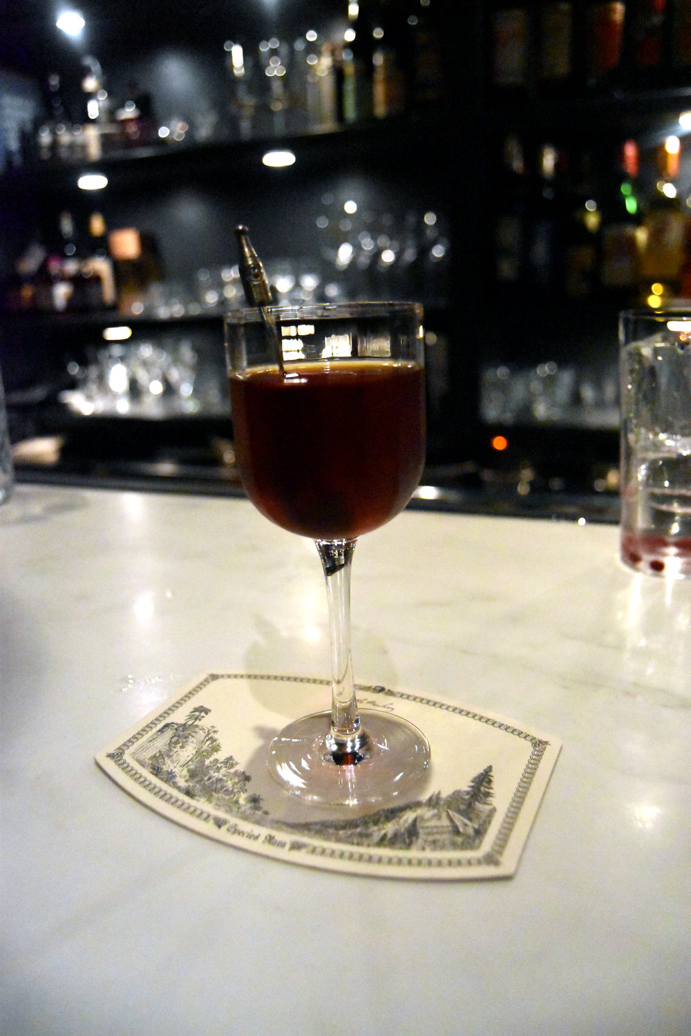 """Who is the Murderer?"": Glenlivet 12y, Campari, Earl Gray Tea, Punt e mes, Suze, Underberg, Sea Salt, and All Spice. We were told it was called that because who is the real ingredient that gets you drunk?"
