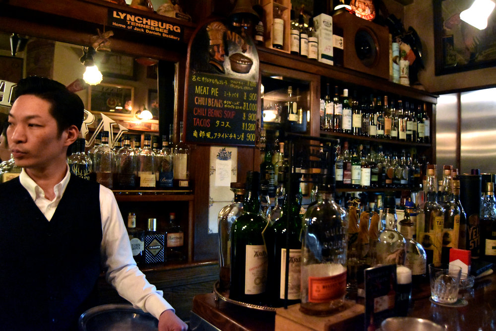 The right side of the tavern, stockpiled with more American whiskeys and a range of whiskies from Japan and Europe
