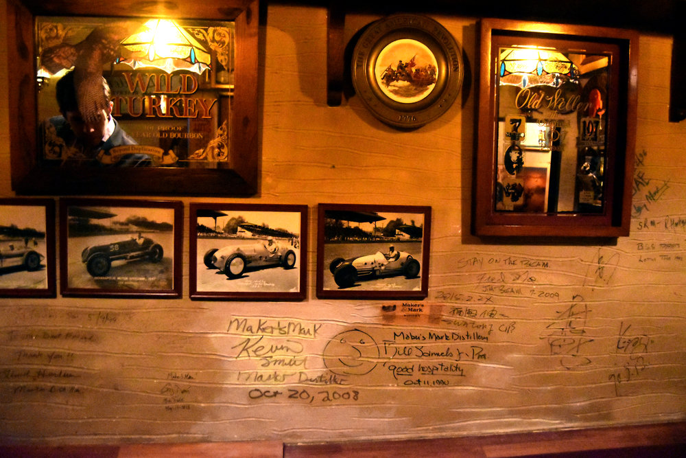 Autographs and meassages from many of the master distiller visitors to Rogin's Bar